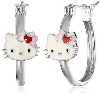 Hello Kitty Sterling Heart Bow Enamel Station Hoop Earrings