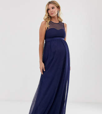 Little Mistress Maternity mesh insert maxi dress in navy