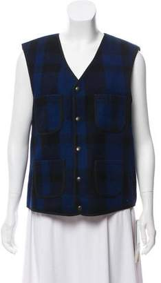 Schott NYC Wool Plaid Print Vest w/ Tags