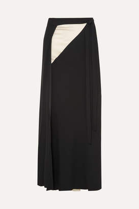 Haider Ackermann Two-tone Crepe Wrap Maxi Skirt - Black