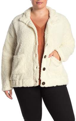 Planet Gold Faux Fur Jacket (Plus Size)