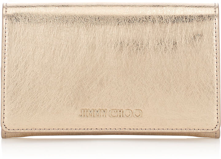 Jimmy ChooMARLIE Gold Etched Metallic Spazzolato Leather Continental Wallet