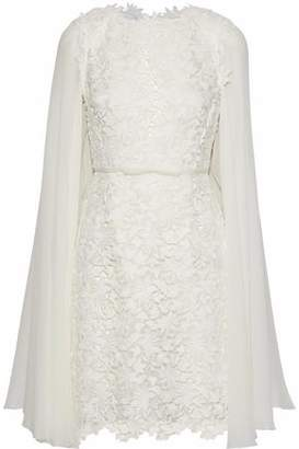 Giambattista Valli Cape-Back Chiffon-Paneled Cotton-Blend Guipure Lace Mini Dress