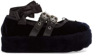 Miu Miu Velvet and fur flatform pumps