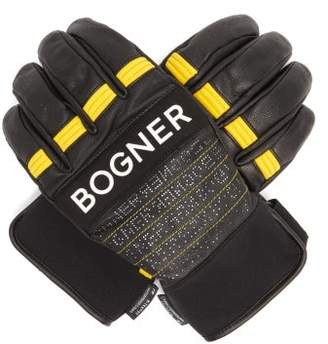 Bogner Agimo Faux Shearling Lined Leather Ski Gloves - Mens - Black