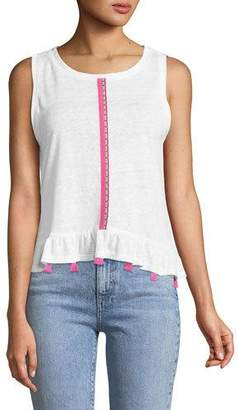 Generation Love Ruby Crewneck Sleeveless Brocade-Trim Linen Top w/ Tassel Trim