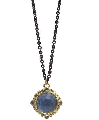 Armenta 18K Yellow Gold and Blackened Sterling Silver Old World Blue Quartz Triplet, Diamond and White Sapphire Pendant Necklace, 16 - 100% Exclusive