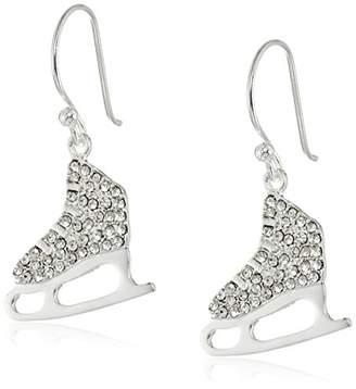 -Plated Crystal Ice Skate Dangle Earrings