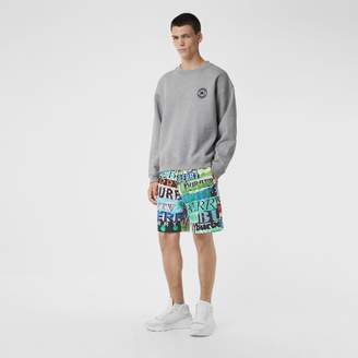 Burberry Tag Print Cotton Shorts