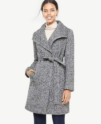 Ann Taylor Herringbone Wrap Coat