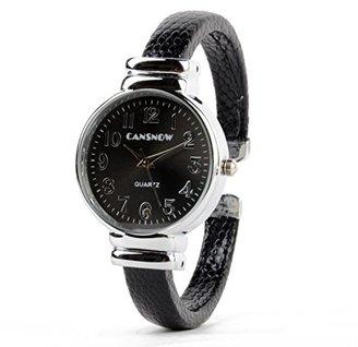 ABS by Allen Schwartz レディースクォーツブレスレットバングル腕時計手首時計ブラックPUレザーバンド