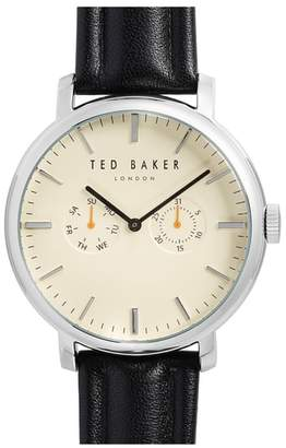 Ted Baker Trent Leather Strap Watch, 43mm