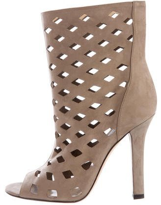 Jimmy Choo Jimmy Choo Suede Laser Cut Ankle Boots
