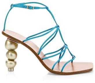 Cult Gaia Pietra Leather Ankle-Strap Sandals
