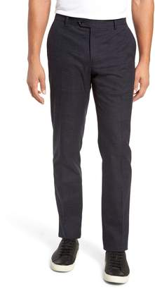Nordstrom Signature Flat Front Windowpane Stretch Cotton Trousers