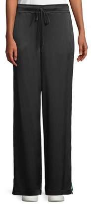 Frame Striped Satin Wide-Leg Track Pants