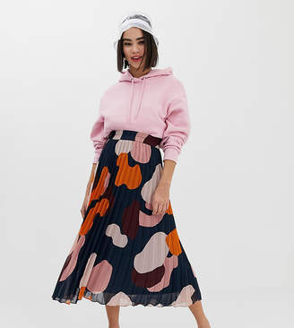 Monki pleated midi skirt in camo print