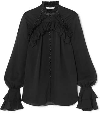 Jonathan Simkhai Satin-trimmed Ruffled Silk-georgette Blouse - Black