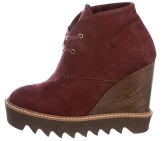 Stella McCartney Vegan Suede Wedge Ankle Boots