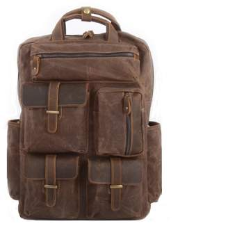 EAZO - Military Style Multi Pockets Waxed Canvas Backpack in Brown