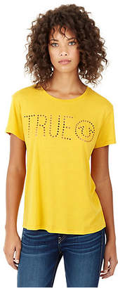 True Religion WOMENS PERFORATED LOGO TEE