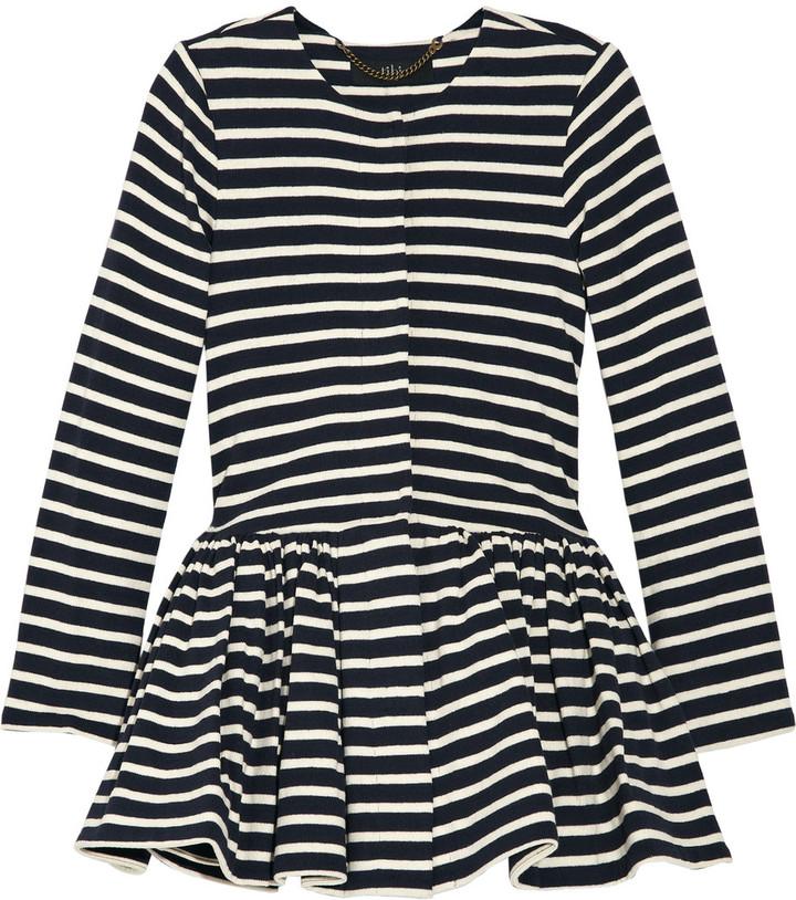 Tibi Peplum-waist striped cotton jacket