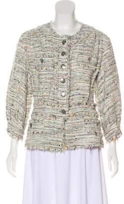 Chanel Tweed Collarless Jacket White Tweed Collarless Jacket