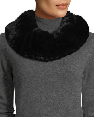 Surell Stretch Knit Short Fur Infinity Scarf