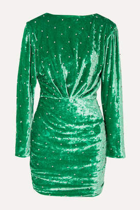 ATTICO Crystal-embellished Ruched Stretch-velvet Mini Dress - Green
