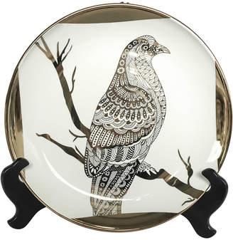Sagebrook Home White/Gold Bird Plate