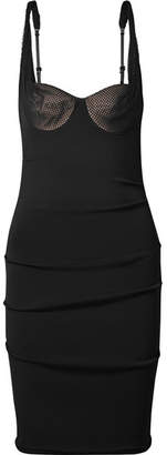 Alexander Wang Mesh-paneled Ruched Stretch-crepe Dress - Black