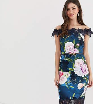 8c07e7f9c09531 Paper Dolls Tall bardot midi dress with lace detail in floral print