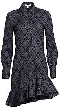 Derek Lam 10 Crosby Women's Ruffled Long Sleeve Shirt Dress