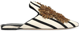 Sanayi 313 - Clytie Appliquéd Striped Canvas Slippers - White