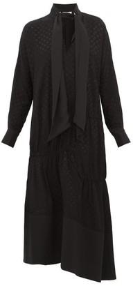 Tibi Polka Dot Tie Neck Twill Dress - Womens - Black