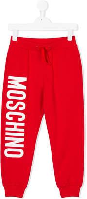 Moschino Kids logo print lounge trousers