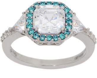 Diamonique Asscher Cut Ring with Color Halo, Platinum Clad