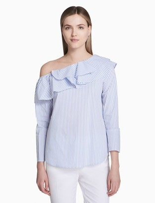 Calvin Klein striped off-the-shoulder ruffle blouse