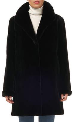 Gorski Reversible Sheared Mink & Silk Taffeta Stroller Coat