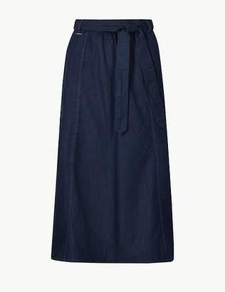 Marks and Spencer Pure Cotton Denim Midi Skirt