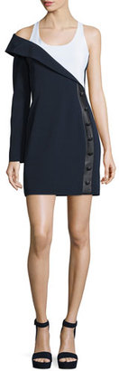 Mugler Scoop-Neck Asymmetric Sheath Dress, Navy/White $1,835 thestylecure.com