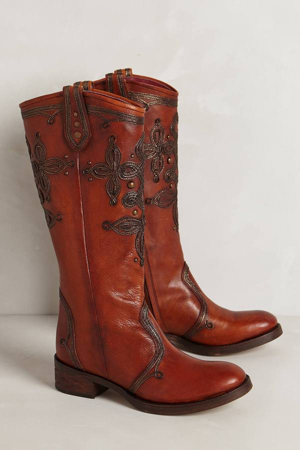 Anthropologie Embroidered Lillie Boots