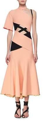 Proenza Schouler Exposed Bandage Asymmetric Midi Dress, Orange