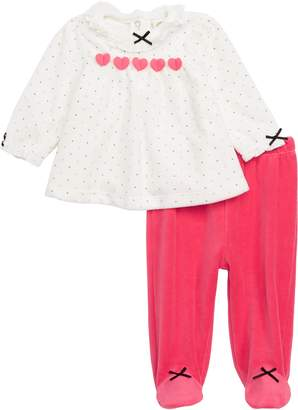 Little Me Hearts Top & Footed Pants Set