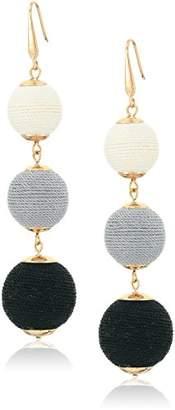 Steve Madden Gold Tone ed Cord Graduated Ball Drop Hook Drop Earrings