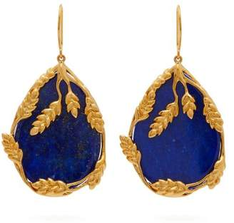 Aurelie Bidermann Francoise 18kt Gold Plated Lapis Earrings - Womens - Blue