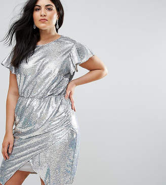 Asos Sequin Wrap Dress with Tie Neck