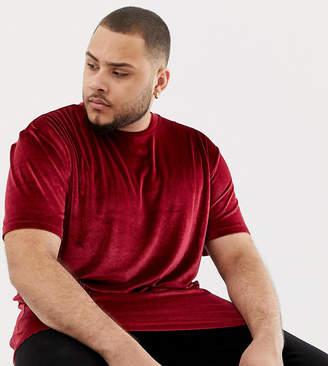 Asos Design DESIGN Plus relaxed longline velour t-shirt in oxblood
