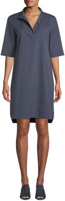 Lafayette 148 New York Kennet Short-Sleeve Stretch-Cotton Shirtdress