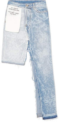 Unravel Project - Asymmetric Bleached Distressed Denim Skirt - Light denim